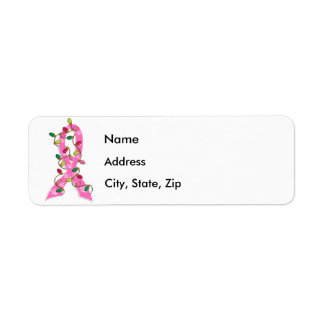Cinta de las luces de navidad del cáncer de pecho etiqueta de remite