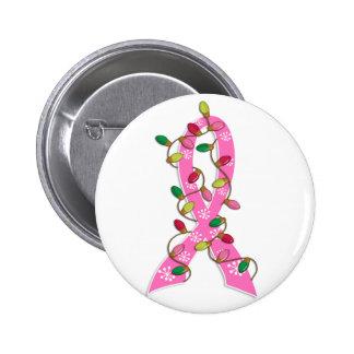 Cinta de las luces de navidad del cáncer de pecho pins