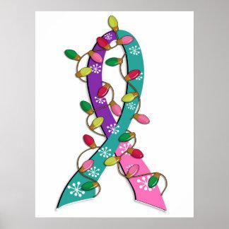 Cinta de las luces de navidad del cáncer de tiroid poster