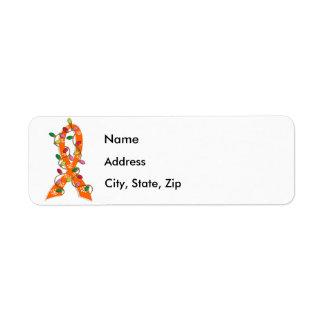 Cinta de las luces de navidad del cáncer del riñón etiqueta de remite