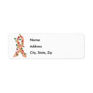 Cinta de las luces de navidad del cáncer endometri etiquetas de remite