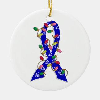 Cinta de las luces de navidad del cáncer rectal adorno navideño redondo de cerámica