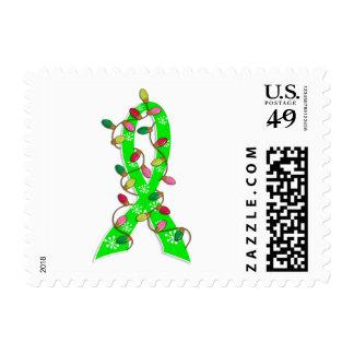 Cinta de las luces de navidad del linfoma sellos