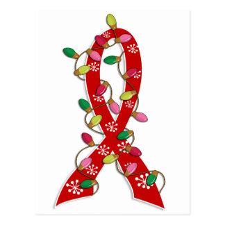 Cinta de las luces de navidad del SIDA Postales