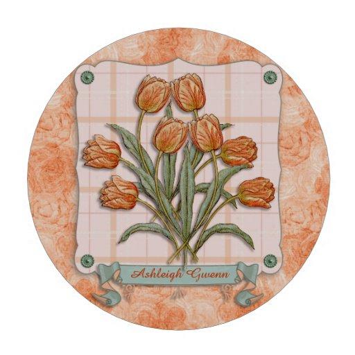 Cinta de los tulipanes del vintage del melocotón d fichas de póquer