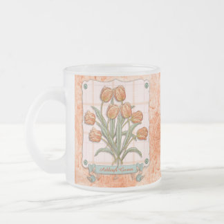 Cinta de los tulipanes del vintage del melocotón d taza