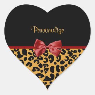 Cinta de moda del negro y del rojo del estampado pegatina en forma de corazón