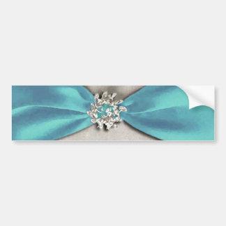cinta de satén azul con la copia de la joya pegatina para auto