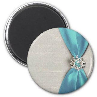 cinta de satén azul con la copia de la joya imán de nevera