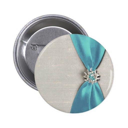 cinta de satén azul con la copia de la joya pins