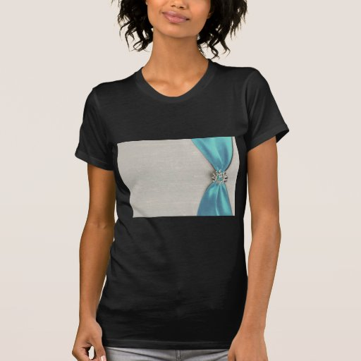cinta de satén azul con la copia de la joya camisetas