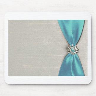 cinta de satén azul con la copia de la joya alfombrilla de ratón