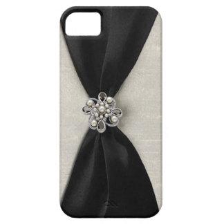 Cinta de satén negra con la joya iPhone 5 protectores