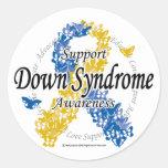 Cinta de Síndrome de Down de las mariposas 2 Pegatina Redonda