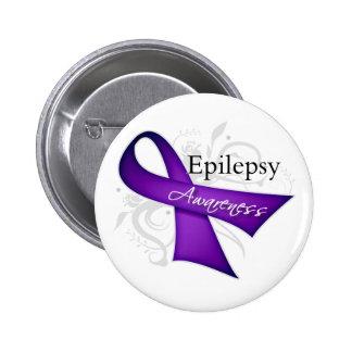 Cinta de voluta - conciencia de la epilepsia pin redondo de 2 pulgadas