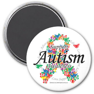 Cinta del autismo de mariposas imán redondo 7 cm