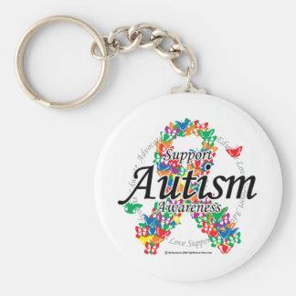 Cinta del autismo de mariposas llavero personalizado