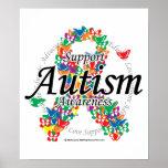 Cinta del autismo de mariposas poster