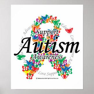 Cinta del autismo de mariposas póster