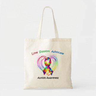 Cinta del autismo en corazón bolsa de mano