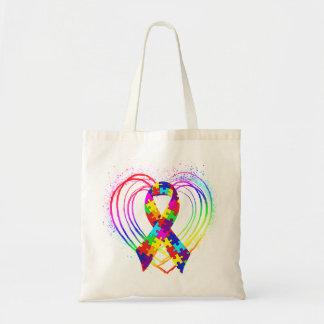 Cinta del autismo en corazón: bolsa