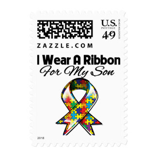 Cinta del autismo para mi hijo sello postal