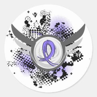 Cinta del bígaro y cáncer del esófago de las alas pegatina redonda
