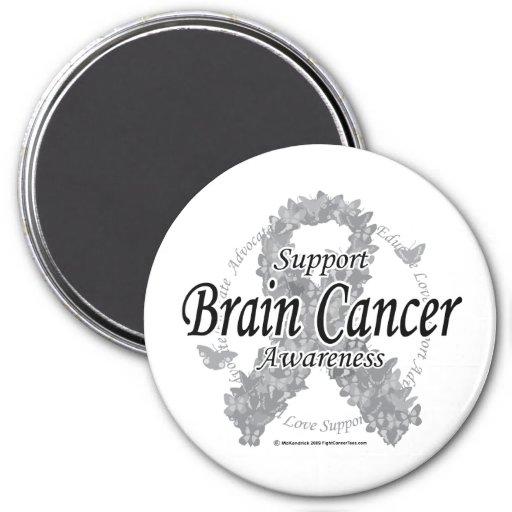 Cinta del cáncer de cerebro de mariposas imanes de nevera