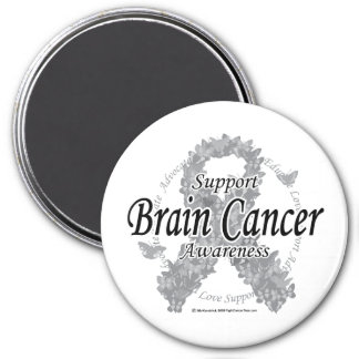 Cinta del cáncer de cerebro de mariposas imán redondo 7 cm