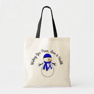 Cinta del cáncer de colon del muñeco de nieve del bolsa lienzo