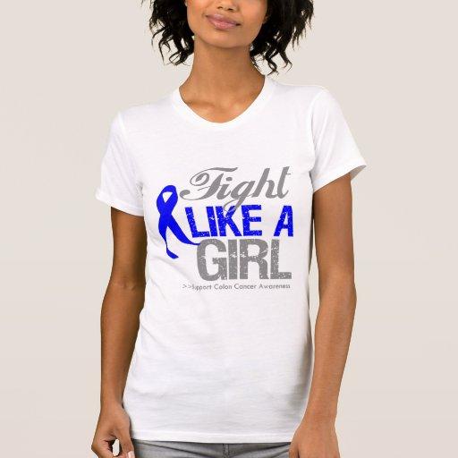 Cinta del cáncer de colon - lucha como un chica tee shirt