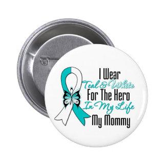 Cinta del cáncer de cuello del útero mi héroe mi m pin redondo 5 cm