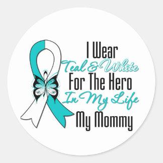 Cinta del cáncer de cuello del útero mi héroe mi pegatina redonda