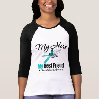 Cinta del cáncer de cuello del útero mi HÉROE mi Playera
