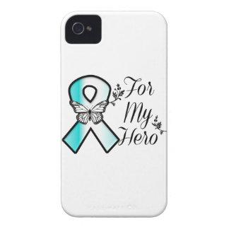Cinta del cáncer de cuello del útero para mi héroe funda para iPhone 4 de Case-Mate