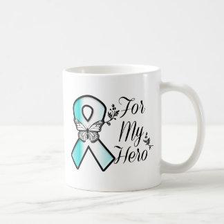 Cinta del cáncer de cuello del útero para mi héroe taza