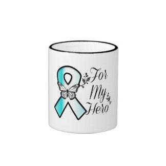 Cinta del cáncer de cuello del útero para mi héroe taza de dos colores