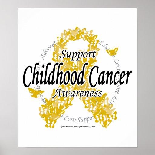 Cinta del cáncer de la niñez de mariposas póster