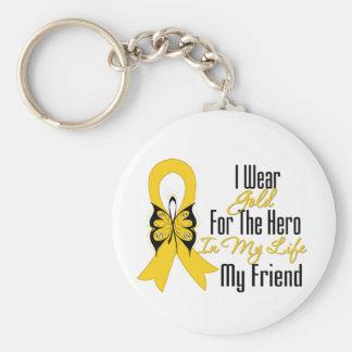 Cinta del cáncer de la niñez mi héroe mi amigo llavero redondo tipo pin