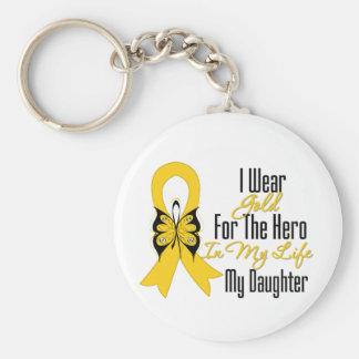 Cinta del cáncer de la niñez mi héroe mi hija llavero redondo tipo pin