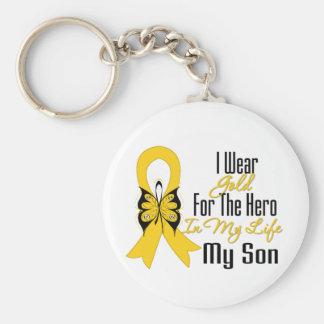 Cinta del cáncer de la niñez mi héroe mi hijo llavero redondo tipo pin