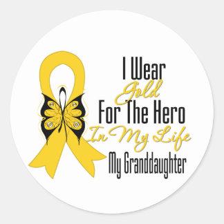 Cinta del cáncer de la niñez mi héroe mi nieta pegatina redonda