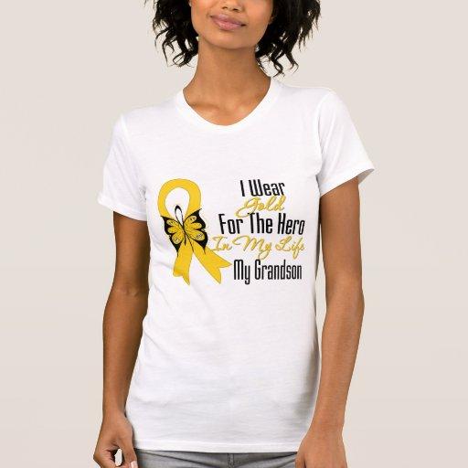 Cinta del cáncer de la niñez mi héroe mi nieto camisetas