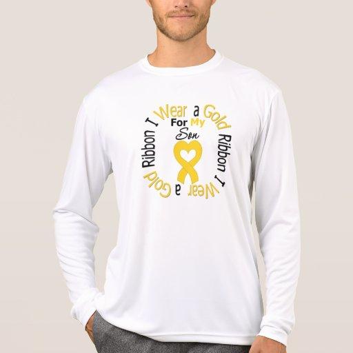 Cinta del cáncer de la niñez para mi hijo camiseta