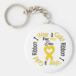 Cinta del cáncer de la niñez para mi hijo llavero personalizado