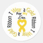 Cinta del cáncer de la niñez para mi hijo pegatina redonda