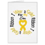 Cinta del cáncer de la niñez para mi hijo tarjeta