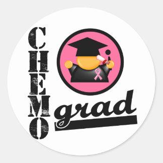 Cinta del cáncer de pecho del graduado de Chemo Pegatinas Redondas