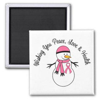 Cinta del cáncer de pecho del muñeco de nieve del iman de frigorífico