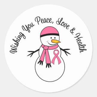Cinta del cáncer de pecho del muñeco de nieve del pegatina redonda